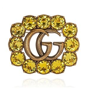 GUCCI GG Logo Hair Clip with Crystals NWOT